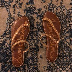 Brand new Sam Edelman tan and gold sandals